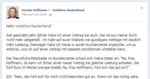 Kundenservice auf Facebook?