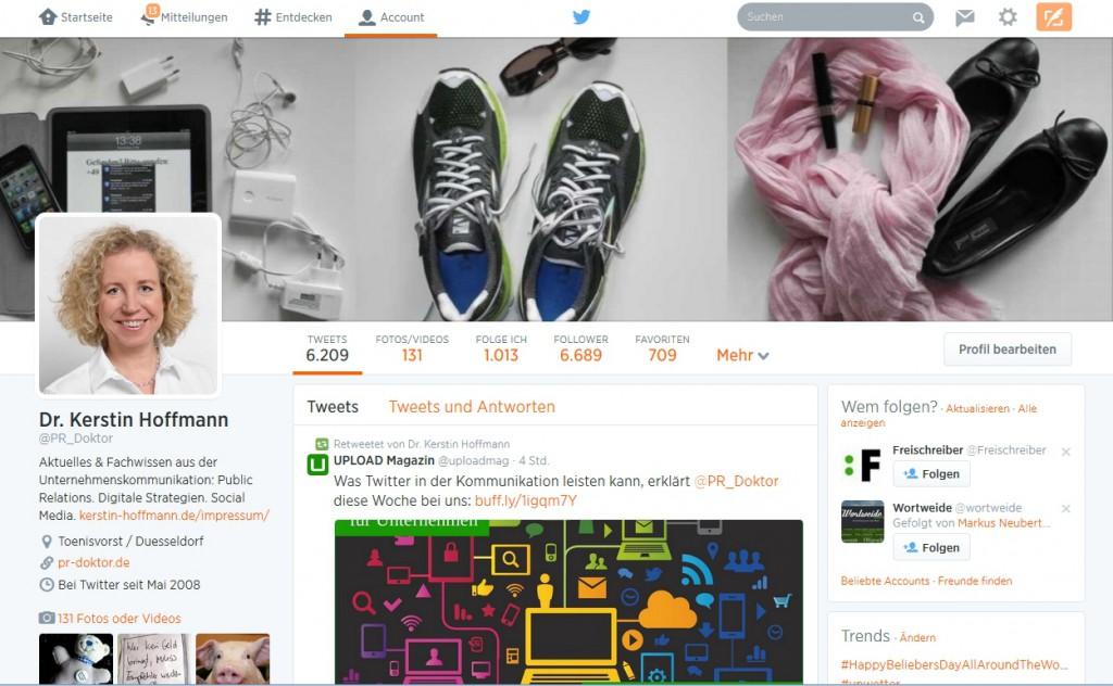 """In diesem Beitrag zeige ich, wie Sie die """"Kanalversprechen"""" für Ihr Unternehmen erarbeiten und liefere Ihnen am Beispiel Twitter konkrete Ideen. Aus bildrechtlichen Gründen hier ein Blick auf meinen professionellen Twitter-Account. Der Klick auf das Bild führt Sie direkt dorthin."""