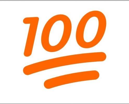 Zahl hundert als Symbol für maximale Sichtbarkeit