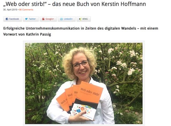 """Im April/Mai 2015 erschien mein Buch """"Web oder stirb!"""". Die Resonanz war und ist sehr beglückend. Hier ist der Beitrag zum Buchstart. »"""