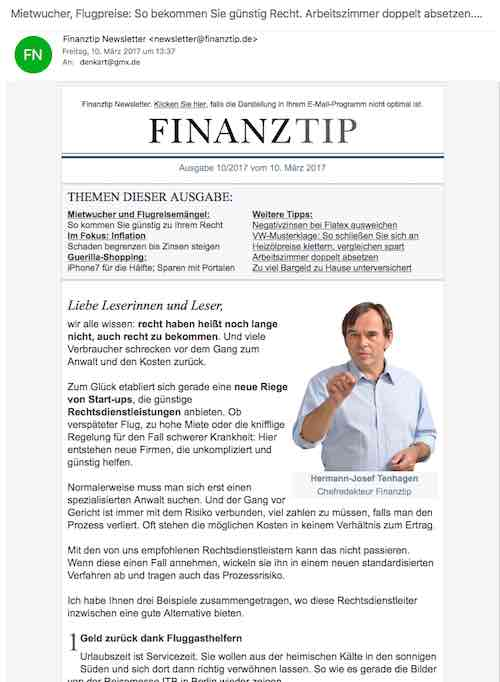Newsletter Finanztip