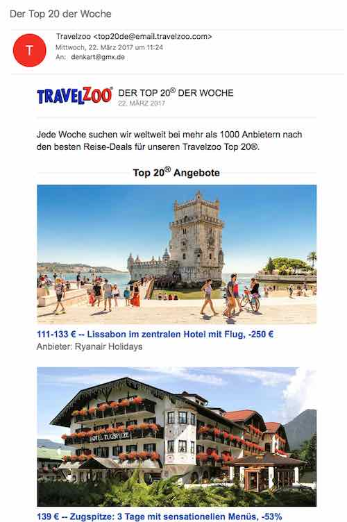 Newsletter Travelzoo