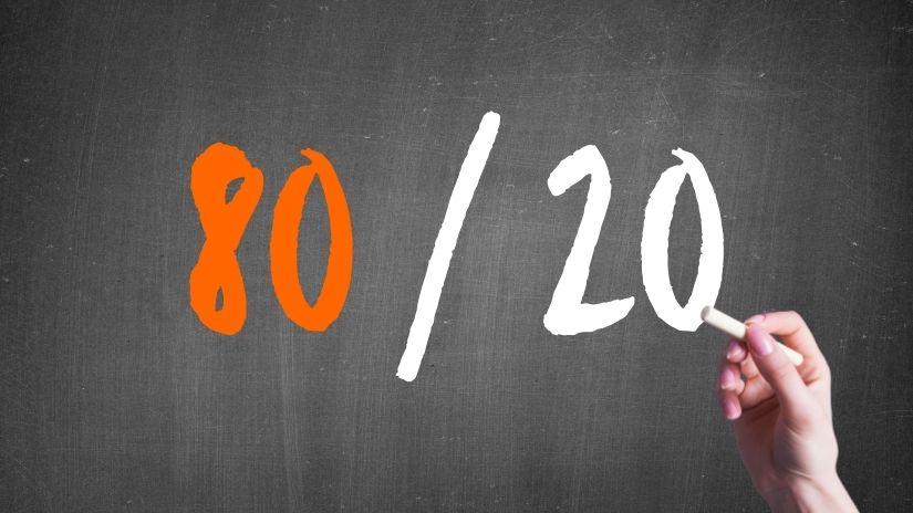 Wandtafel mit 80/20-Regel und Hand
