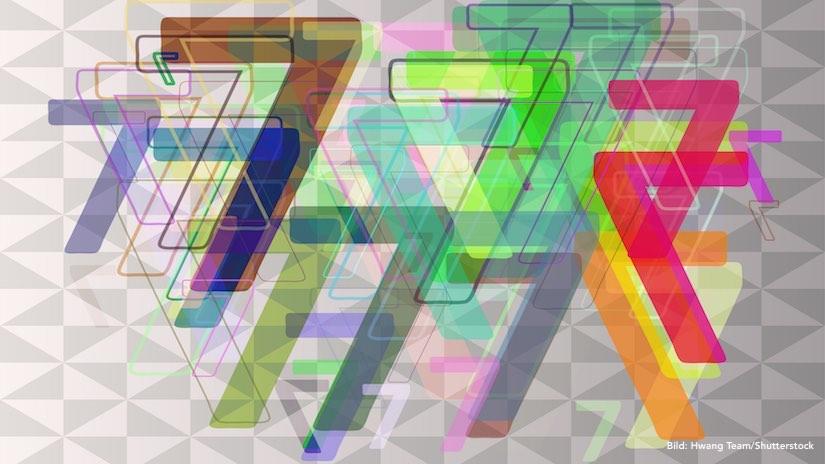 7 Phasen der Content-Marketing-Strategie, symbolisiert durch eine vielfache farbige Darstellung der Zahl 7.